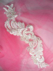"""BL26 Antique White Floral Venise Lace Pearl Sequin Applique 12"""""""