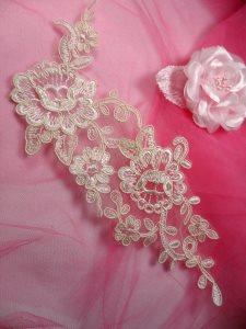 """BL27 Beige Floral Venise Lace Pearl Sequin Applique 10.5"""""""