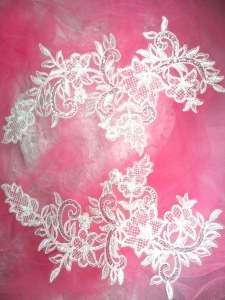 """BL45 White Floral Venise Lace Mirror Pair Sequin Appliques 12"""""""