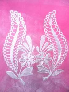 """BL46 Ivory Floral Venise Lace Mirror Pair Appliques 4.75"""""""