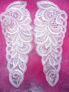"""BL47 Ivory Floral Venise Lace Mirror Pair  Appliques 7"""""""