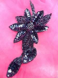 "BL48 Applique Gunmetal Floral Sequin Beaded 6"""