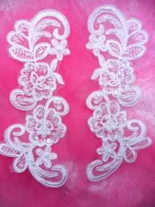 """BL49 White Floral Venise Lace Mirror Pair Pearl Appliques 8"""""""