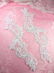 """BL4 White Floral Venise Lace Mirror Pair Pearl Sequin Appliques 9"""""""