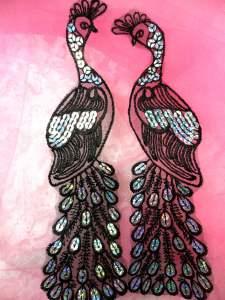 """BL53 Black Silver Venise Lace Peacock Mirror Pair Sequin Appliques 9"""""""