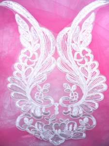 BL60 White Floral Venise Lace Applique 12""