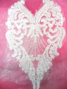 """BL61 Bodice Applique Warm White Venice Lace 10"""""""
