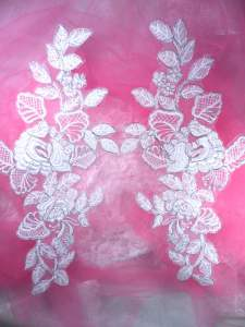 BL64 White Silver Metallic Floral Venise Lace Mirror Pair  Appliques 13""