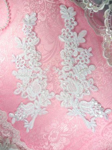 """BL6 White Floral Venise Lace Mirror Pair Pearl Sequin Appliques 10"""""""