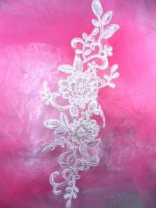 """BL72 Antique White Floral Venise Lace Pearl Sequin  Applique 13.25"""""""