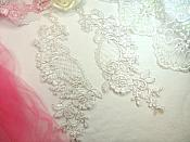 "Appliques White Silver Floral Bridal Venise Lace Mirror Pair Trimmings  10.5"" (BL76X)"