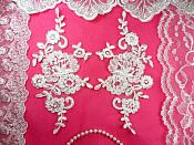 "Mirror Pair White Floral Venise Lace Embroidered Appliques 9"" (BL81)"