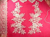 "Mirror Pair White Floral Venise Lace Embroidered Appliques 14"" (BL83)"