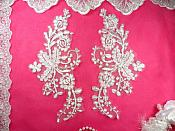 "Mirror Pair Appliques White Silver Metallic Floral Venise Lace Embroidered 10"" (BL84)"