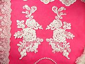 "Mirror Pair White Floral Venise Lace Embroidered Appliques 9.5"" (BL85)"