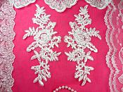 "Mirror Pair White Floral Venise Lace Embroidered Appliques 8"" (BL86)"