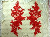 "Mirror Pair Red Floral Venise Lace Embroidered Appliques 9"" (BL88)"