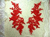 """Mirror Pair Red Floral Venise Lace Embroidered Appliques 9"""" (BL88)"""