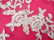 "Mirror Pair Antique White Floral Venise Lace Embroidered Appliques 9"" (BL88)"