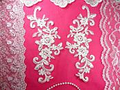 "Mirror Pair Antique White Floral Venise Lace Embroidered Appliques 9"" (BL89)"