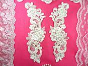 "Venise Lace Mirror Pair Ivory Pearl Beaded Appliques 9"" (BL90)"