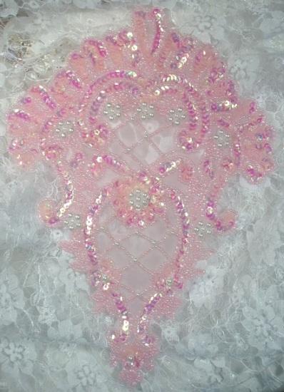 0042  Pink Victorian  Elegance Sequin Beaded Applique