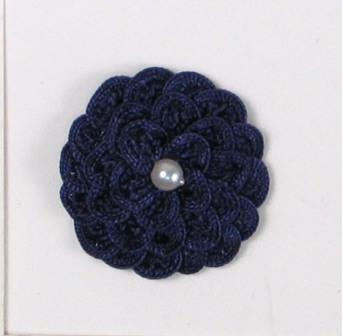 E5560 Navy Blue Pearl Crochet Ribbon Floral Applique 1.5""