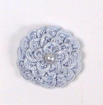 E5560 Light Blue Pearl Crochet Ribbon Floral Applique 1.5""