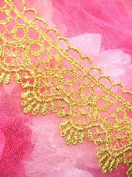 C127 Gold Metallic Shimmering  Victorian Venice Lace Trim  1.75""