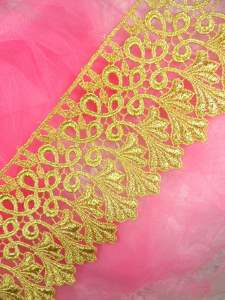 C184 Metallic Gold Venice Lace Sewing Trim 4""