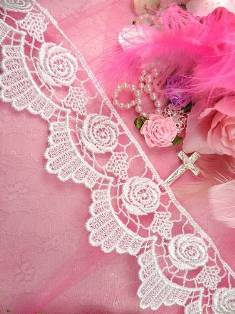 "C227 White Rose Victorian Venice Lace Trim  2.75"""