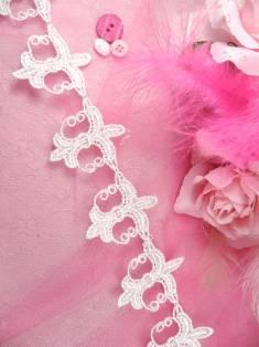 """C336 White Fleur De Lis Venise Lace Trim 2.25"""""""