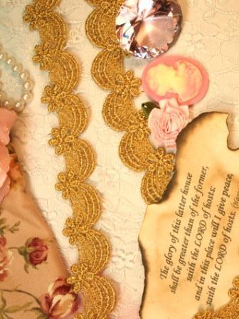 "C45  Gold Metallic Venise Lace Victorian Sewing Trim 1-1/8"""