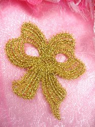 C615896 Gold Venise Lace Victorian Bow  Applique 5.5""