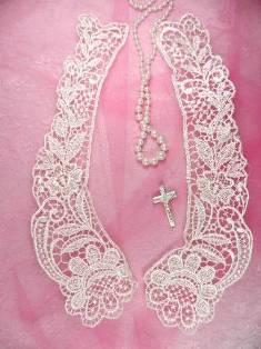 "C63 Ivory Venice Victorian Lace Mirror Pair Collar Appliques 10.5"""