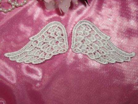 """0125  Ivory Venice Lace Wing Mirror Pair Appliques 2.75"""""""