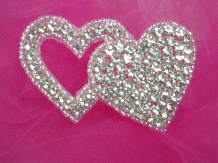 "XR236  Genuine Rhinestone Double Heart Beaded Applique 3"""