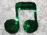 """Kelly Green Musical Note Quarter 3"""" Sequin Beaded Appliques K8614"""