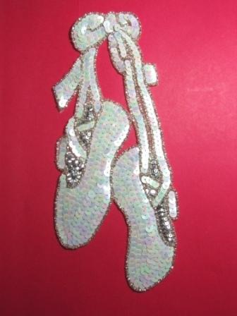 """K8890  White / Silver Ballerina Slippers Sequin Beaded Applique 6.75"""""""