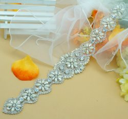 "DH13 Bridal Sash Motif Silver Crystal Clear Glass Rhinestone Applique with Pearls 13"""