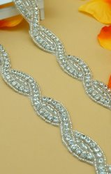 DH18 Crystal Clear Rhinestone Braided Silver Beaded Trim .75""
