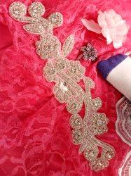 "DH24 Crystal Rhinestone Collar Applique Silver Beaded Bridal Sash Patch Motif 12.5"""