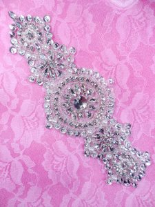 DH33 Pearl Applique Crystal Clear Rhinestone Silver Beaded Patch 7.25""