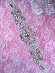 DH35 Pearl Applique Crystal Clear Rhinestone Sliver Beaded Patch 11""