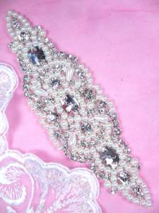 DH43 Pearl Applique Crystal Clear Rhinestone Patch 6.75""