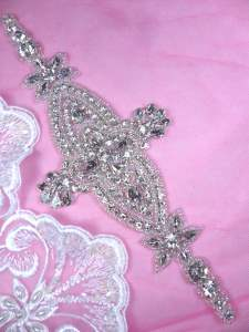 DH44 Applique Crystal Clear Rhinestone Patch 8.75""