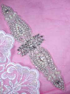 DH45 Pearl Applique Crystal Clear Rhinestone Patch 9.5""