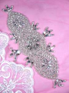 DH46 Applique Crystal Clear Rhinestone Patch 8.75""