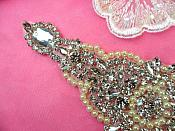 "Pearl Applique Crystal Clear Rhinestone Ivory Iron On Patch 7.75"" (DH47-crivp)"