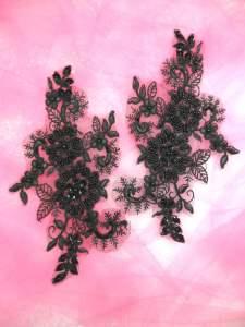 """DH50 Black Floral Venise Lace Mirror Pair Sequin Appliques Beaded 7"""""""